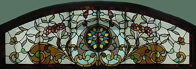Antique American Arched Stained and Jeweled Floral Transom