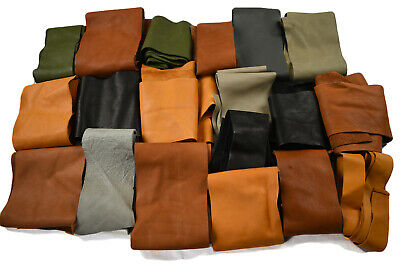 Assorted Full Grain leather scraps Cowhide leather pieces | Hand size or larger