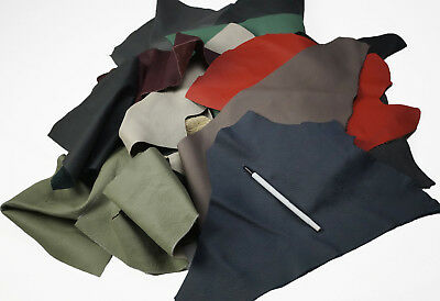 Assorted scrap leather cowhide pieces/offcuts Hand or larger Full grain cow hide