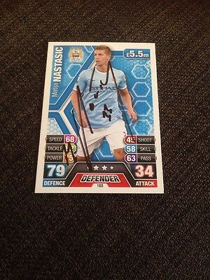 Matija Nastasic Manchester City Serbia Signed Topps Match Attax Trading Card