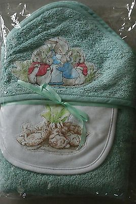 Peter Rabbit~Hooded Towel & Bibs~Gift Set~Mint Green/white