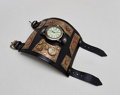 7bd369b60 STEAMPUNK WATCH. LEATHER watch.hand made leather cuff. one of a kind ...