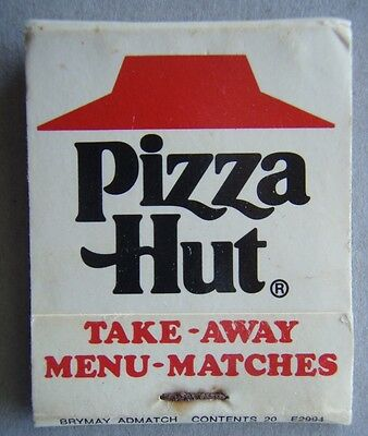 Pizza Hut Take-Away Menu-Matches White Red Matchbook
