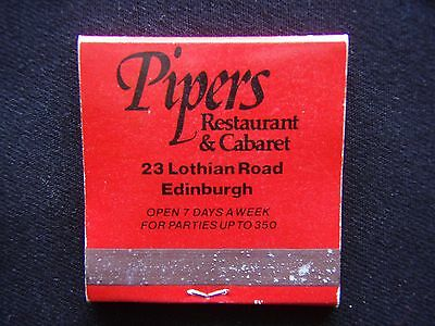 Pipers Restaurant & Cabaret 23 Lothian Rd Edinburgh 031 2298291 Matchbook