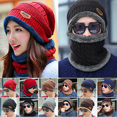 Beanie Skull Cap Unisex Thermal Knitted Winter Warm Hat Beanie Scarf Mens Womens