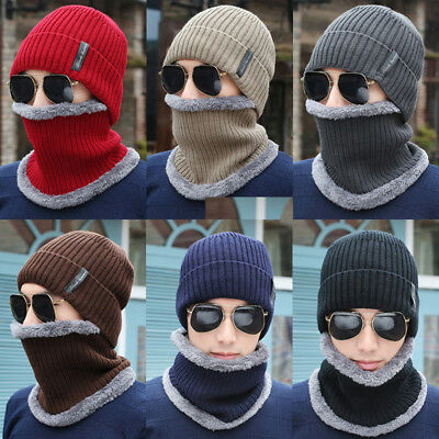 Mens Womens Warm Wool Knit Fleece Scarf Neck Warmer Beanie Hat Ski Cap Balaclava