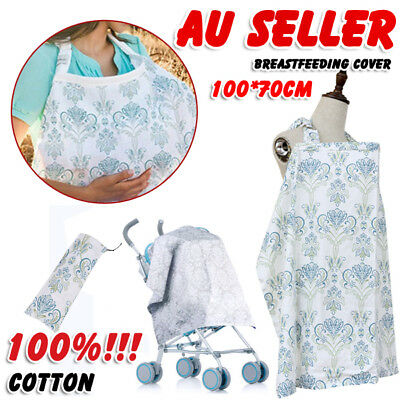 AU Breathable Cotton 3 in 1 Baby Breastfeeding Nursing Cover Generous Blanket