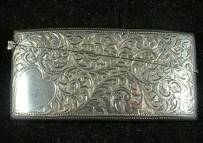 Beautiful Edwardian Bright Cut Solid Silver Calling Card Case by WG Keight, 1901