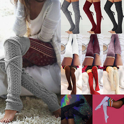 Ladies Womens Knitted Over Knee Leg Warmers Socks Stocking Legging Boot Covers