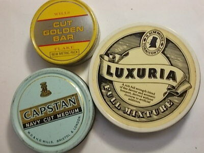 3 Old Empty Tobacco Tins. Capstan  etc. G/VG