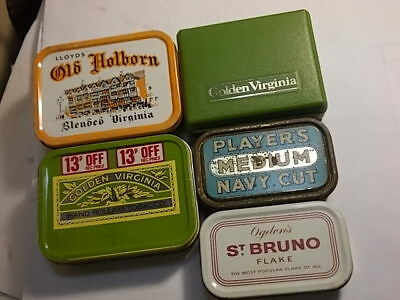 5 Old Empty Tobacco Tins. Players, Old Holborn etc. G