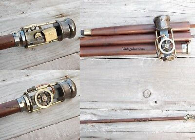 Brass Working Steam Engine Handle Wooden Walking Stick Vintage CHRISTMAS GIFT