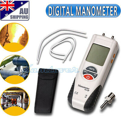 Digital Manometer Differential Gauge Air Pressure Meter Data Hold 11 Units AUS
