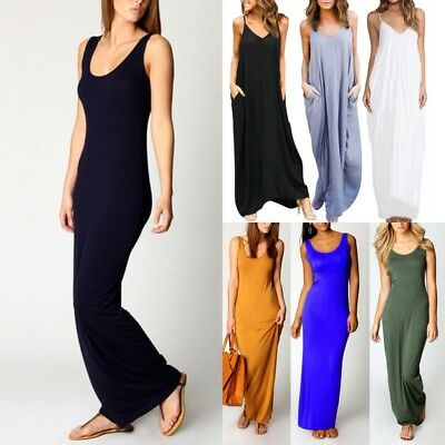 Women Boho Long Maxi Dress Loose Plus Size Beach Holiday Casual Summer Sundress