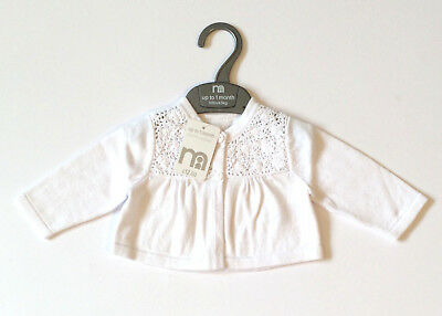 Mothercare White Cardigan Brand New With Tags Age 1 Month 10lbs