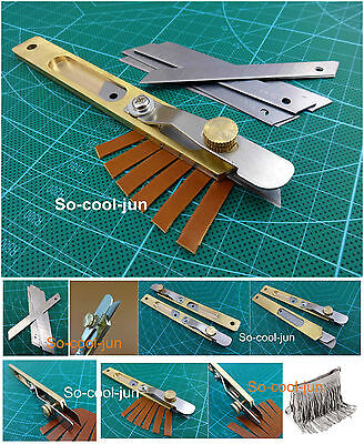 Leather Line Strip Knife Tool +10pcs Blades Copper Trimming Knife Leather Tool