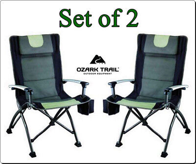 Outdoor High Back Folding Chair With Headrest Set Of 2 Durable Camping Seat  NEW