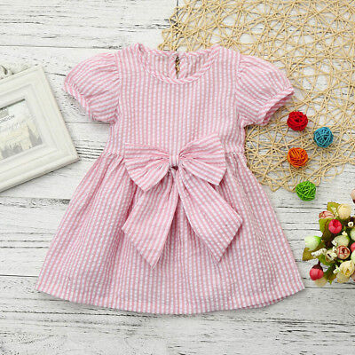 Baby Girls Infant Toddler Kids Clothes Stripe Bow Princess Outfits Dress Summer