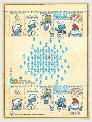 Belgium- 2018-  - 60 Smurf Years - Miniature Sheet