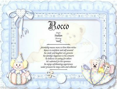 Baby Boy Personalized Name Meaning English or Spanish Baby Shower Wall Print