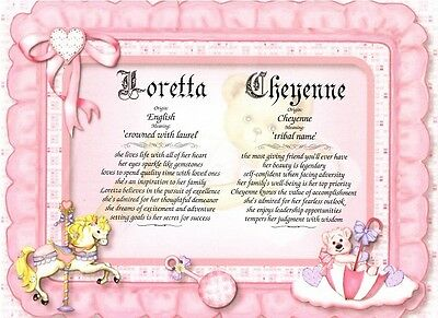 Infant Baby Personalized Two Name Meaning Ready to Frame Gift