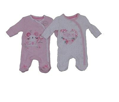 2 Pack Baby Girls Mummy Loves Me Mouse Pink Sleepsuits Newborn - 12 Months