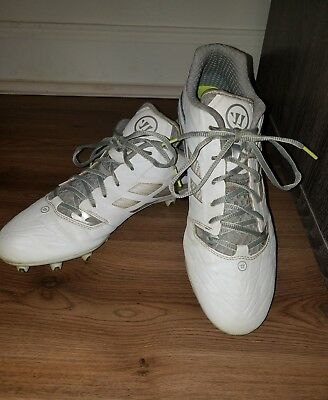 Size 12 WARRIOR Burn 8.0 White Silver Lacrosse Soccer Baseball  Cleats Shoes