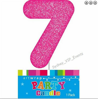 Cake Candle Number 7 Glitter Pink 7Th Birthday Party Girls Seven 17Th 70 Topper