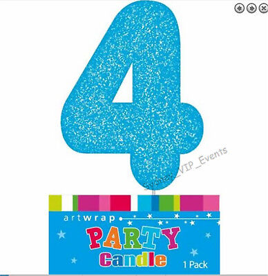 Cake Candle Number 4 Glitter Blue 4Th Birthday Party Boy Four 14Th 40Th Topper