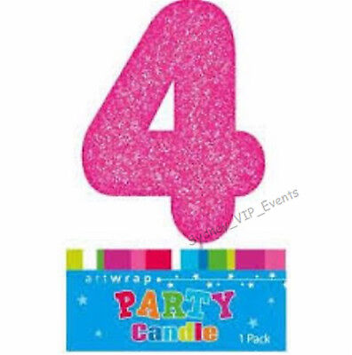 Cake Candle Number 4 Glitter Pink 4Th Birthday Party Girl Four 14Th 40Th Topper