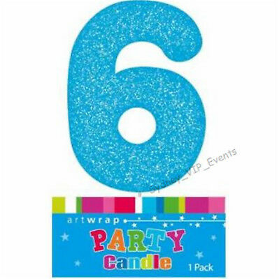 Cake Candle Number 6 Glitter Blue 6Th Birthday Party Boy Six 16Th 60Th Topper