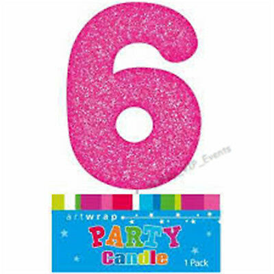 Cake Candle Number 6 Glitter Pink 6Th Birthday Party Girl Six 16Th 60Th Topper
