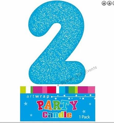 Cake Candle Number 2 Glitter Blue 2Nd Birthday Party Boys Second Two 21St 12Th