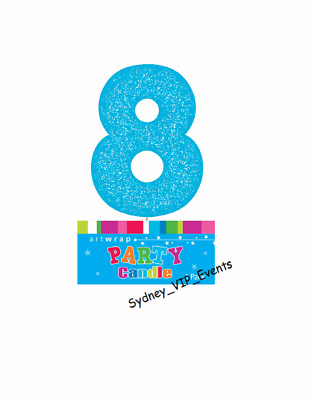 Cake Candle Number 8 Glitter Blue 8Th Birthday Party Boys  Eight 18Th 80 Topper