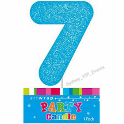 Cake Candle Number 7 Glitter Blue 7Th Birthday Party Boy Seven 17Th 70Th Topper