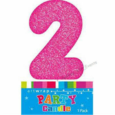 Cake Candle Number 2 Glitter Pink 2Nd Birthday Party Girl Second Two 21St 12Th