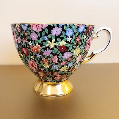 Vintage 1950's Plant TUSCAN Footed Floral Gold Rim Tea Cup Mille Fleurs CHINTZ