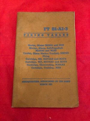 Firing Tables For Mortar, : Ft 81-A1-3  1973 Dept Army