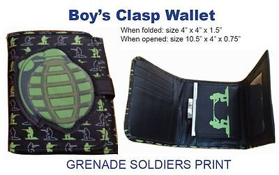 "Boys Clasp Wallet ""Grenade Soldiers"" 4""x4"" folded card slots inside (US Seller)"