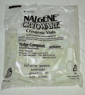 Nalgene Cryoware Cryogenic Vials CN 5000-0020 New Sealed Lot of 25