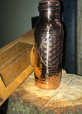 600mL Pure Copper Bottle Ayurvedic-Flower of Life Rumi intention hammered effect