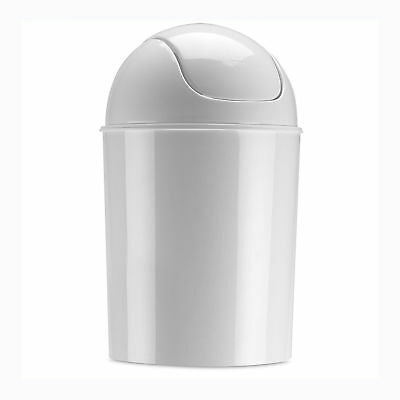 Waste Garbage Basket Trash Can Mini Bathroom 1.2 Gallon Swing Top Lid White Home