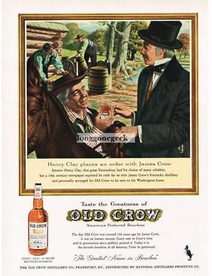 1959 OLD CROW Bourbon Whiskey Henry Clay orders from James Crow art VTG Print Ad