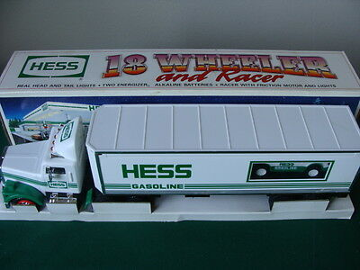 1992 Toy Hess 18 Wheeler Box-Style Tractor Trailer & Race Car w/ Working Lights