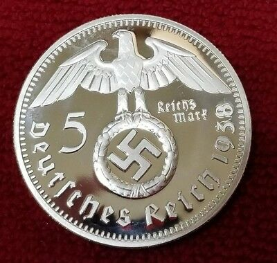 WW2 WWII Third Reich Nazi German Hindenburg 5RM silver plated coin 1938