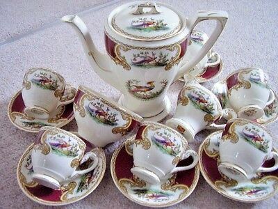 Myott Staffordshire CHELSEA BIRD RED Maroon porcelain Coffee Tea Cup full Set