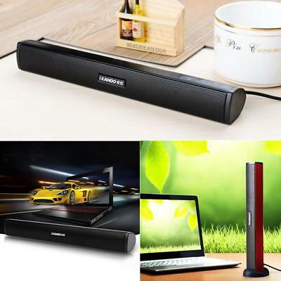 Protbale USB Stereo Speakers Built-in Sound Card Audio Sound Bar For PC Laptop