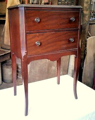 Vintage Walnut Sewing Notion Stand Cabinet w Swing Out Drawer 1930's Era