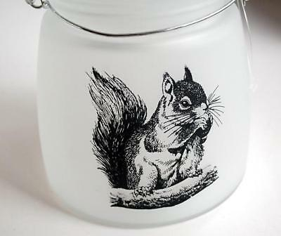 Squirrel Candle Frosted Glass Jar Hanging Lantern Walkway Light Tealight