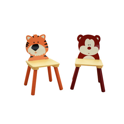Jungle Wooden Two Chair Set - (Bear & Tiger) / Children's Playroom